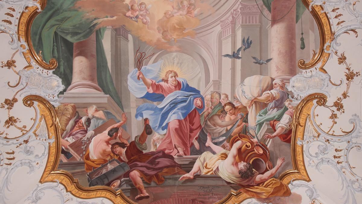 Deckenfresko in der Eingangshalle der Basilika Ottobeuren - Vertreibung der Geldwechsler und Händler aus dem Tempel von Johann Jakob Zeiller