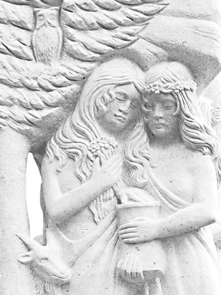 die wilden Fräulein am Dorfbrunnen bei Schlauchen