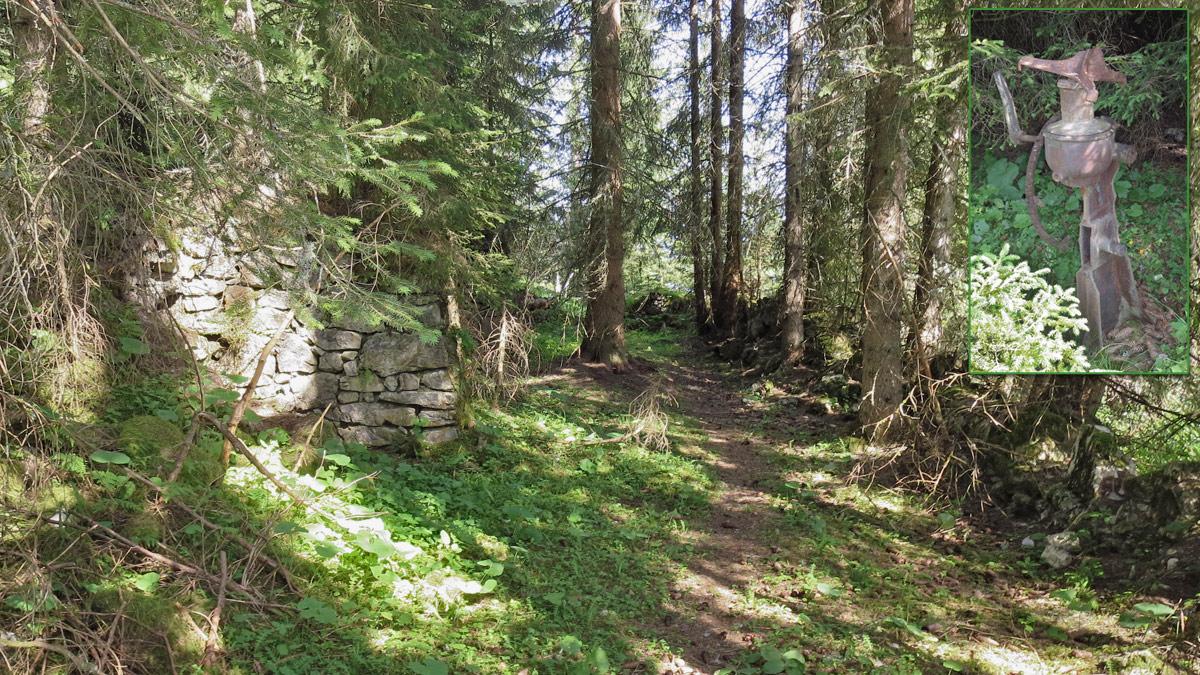 die ruinösen Überreste der einstigen Schlagalpe hoch über dem Rotlechtal - rechts im Bild eine alte Zentrifuge
