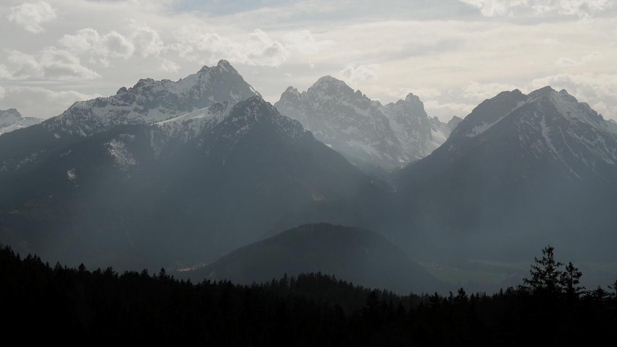 Ausblick aus dem Birgwald hinüber zu den Tannheimer Bergen