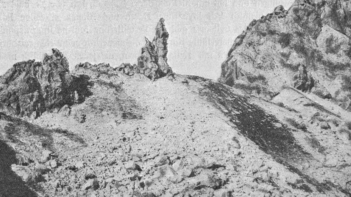 """das """"Wilde Männle"""" im Allgäuer Hauptkamm - Fotografie von M. Rauch (aus """"Die Allgäuer Alpen"""" - Land und Leute; von Max Förderreuther [1907])"""