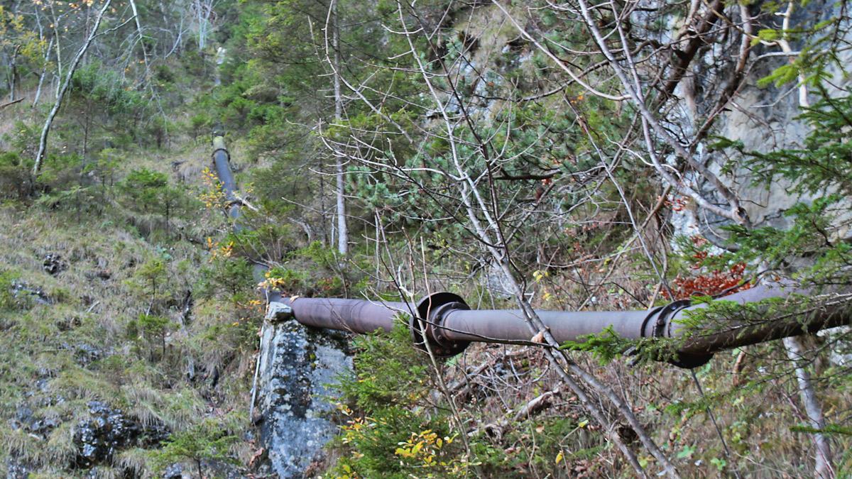 die alte Druckleitung transportierte einst das Wasser des Sababaches hinab zum Sägewerk der Höllmühle bei Brandstatt (Musau)