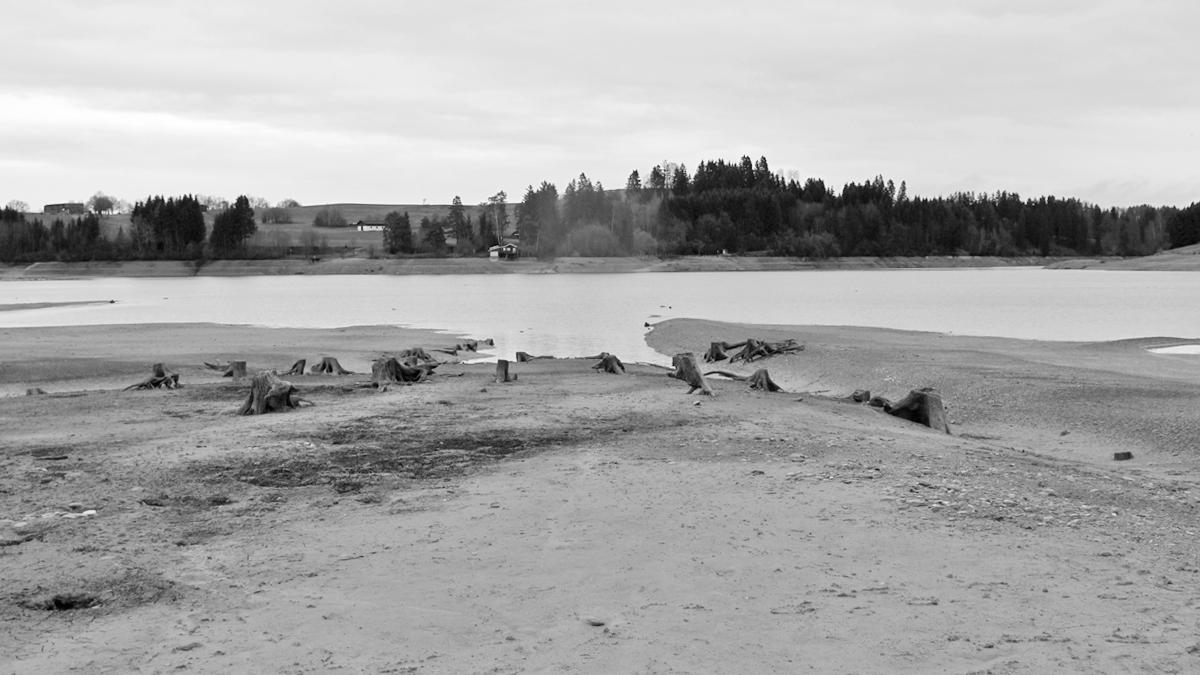 auf der Trasse der Via Claudia Augusta am Grund des Forggensees - man sieht wie sich die Trasse in den See absenkt