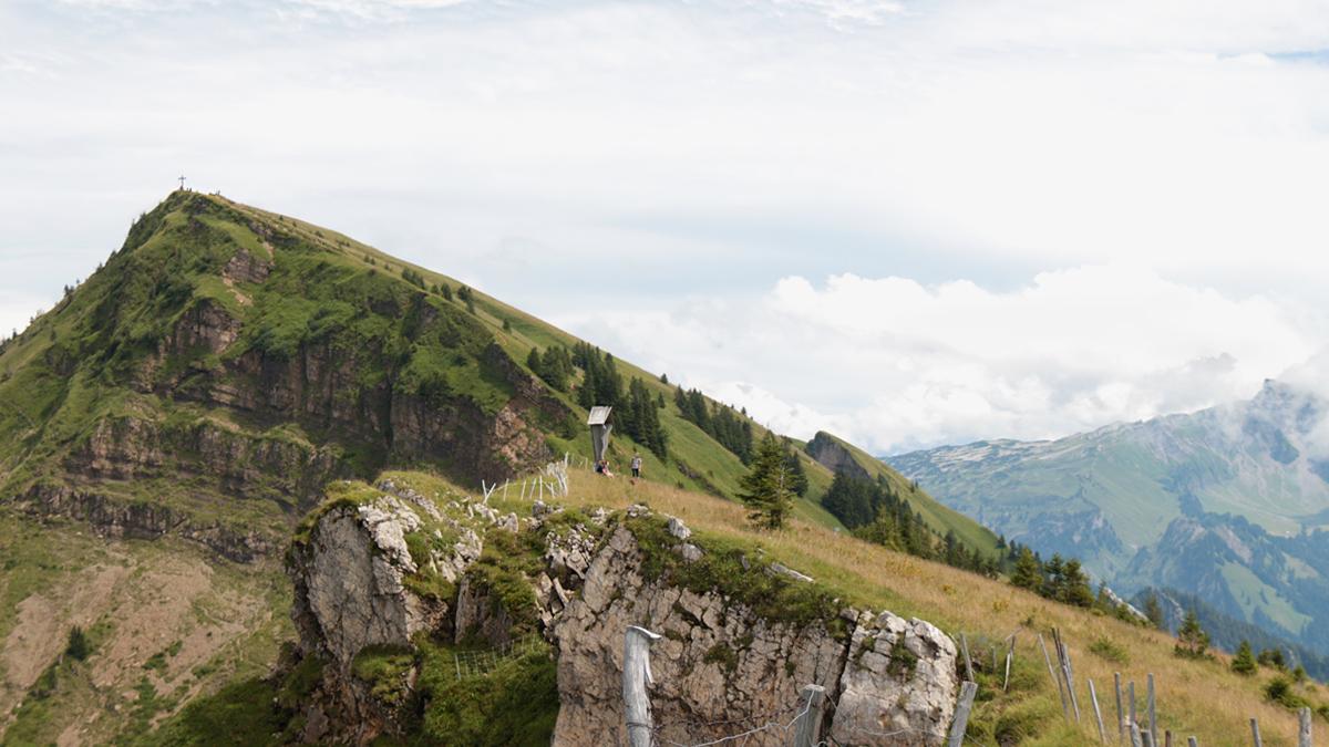 Blick von der Stongerhöhe hinüber zu der Winterstaude, welche über den alpinen Steig des Hasenstricks erklommen wird