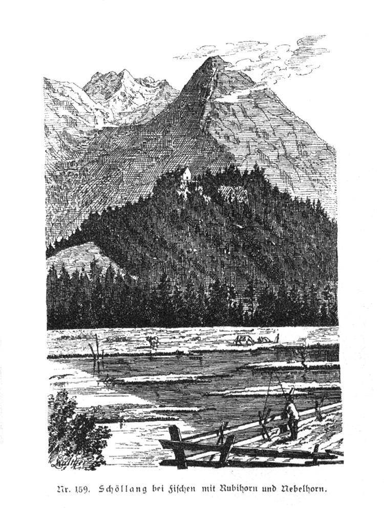 zeitgenössische Zeichnung vom Burgberg bei Schöllang / Fischen - im Hintergrund das Nebel- und Rubihorn (Geschichte des Allgäus - Baumann; Walther - 1883)