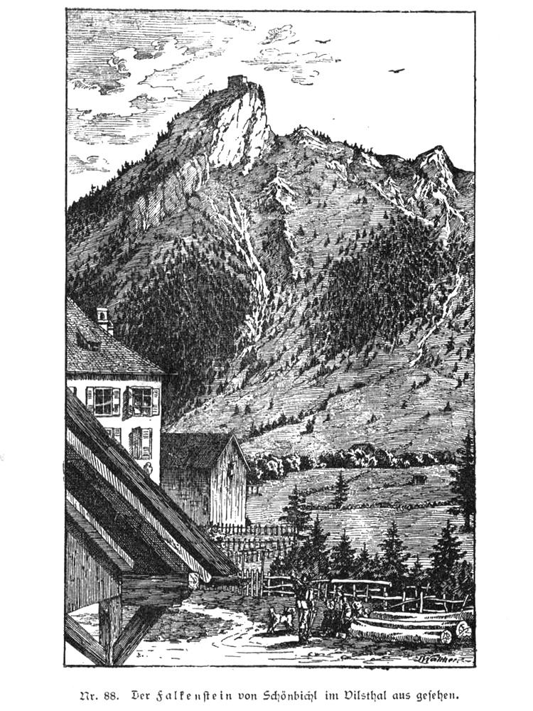 Blick von Schönbichl hinauf zu der Burgruine Falkenstein - aus 'Geschichte des Allgäus' - Baumann 1883