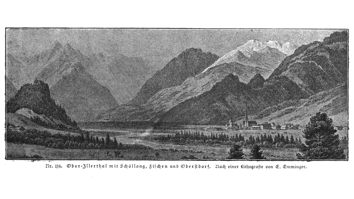 zeitgenössische Ansicht des Ober-Illertales mit Schöllang, Fischen und Oberstdorf - aus 'Geschichte des Allgäus' - Baumann 1883