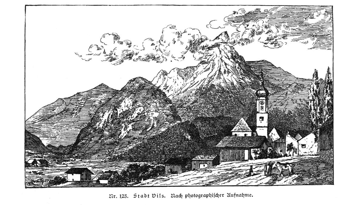 zeitgenössische Ansicht der Stadt Vils - aus 'Geschichte des Allgäus' - Baumann 1883