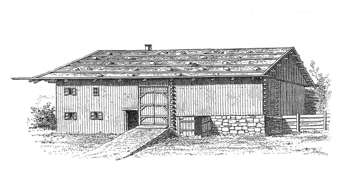 Bauform eines Lechtaler Bauernhauses um die Mitte des 19. Jahrhunderts