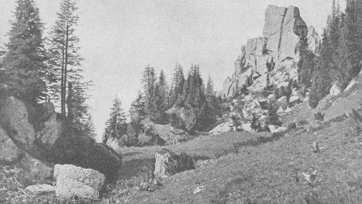 """die """"Kirche"""" am Steineberg - aus """"Allgäuer Alpen - Land und Leute"""" von Max Förderreuther"""