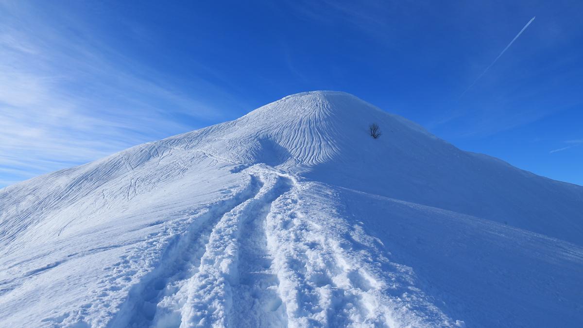 auch am Gipfel des Riedberger Horns zeichnen sich Wasserrinnen am