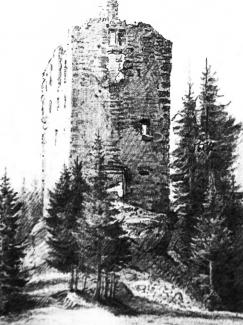 historische Ansicht der Ruine Langenegg