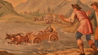 Stiere ziehen den Leichenwagen des heiligen Ulrich