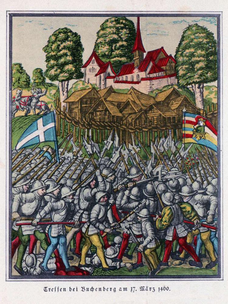 die Schlacht am Buchenberg am 17. März 1460 - Geschichte des Allgäus (Baumann, 1883)