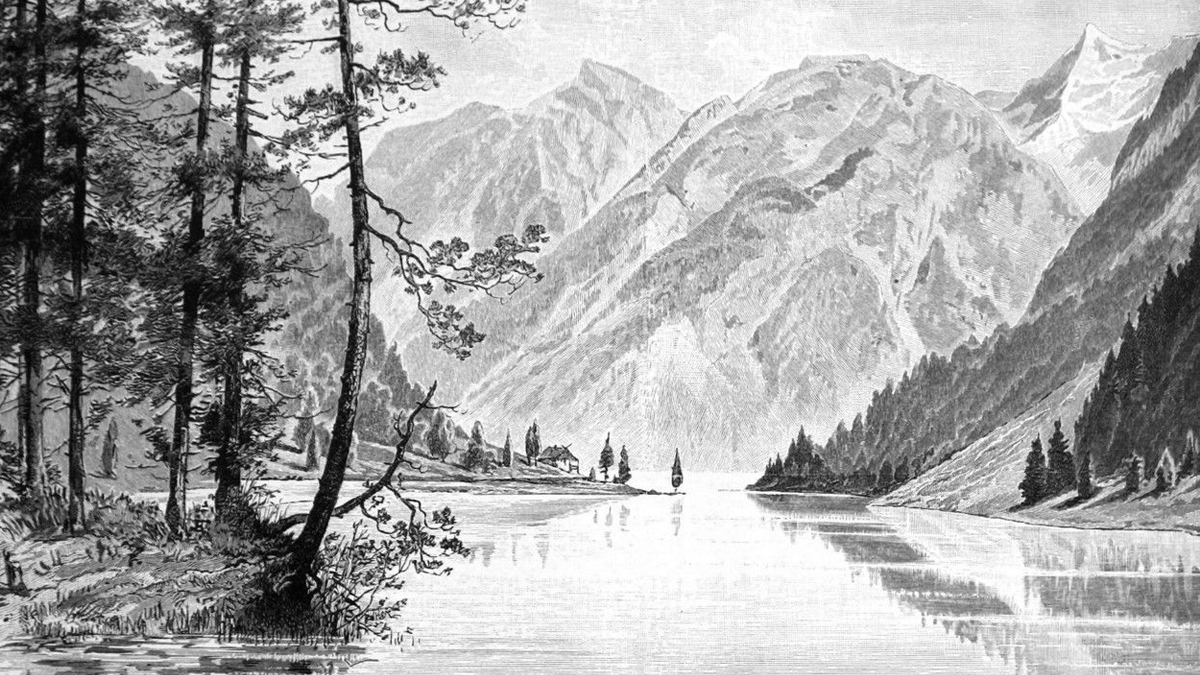 der Plansee und der Seespitz - im Hintergrund die Spießwände und das Pitzenegg (Zeichnung von H. Nisle)