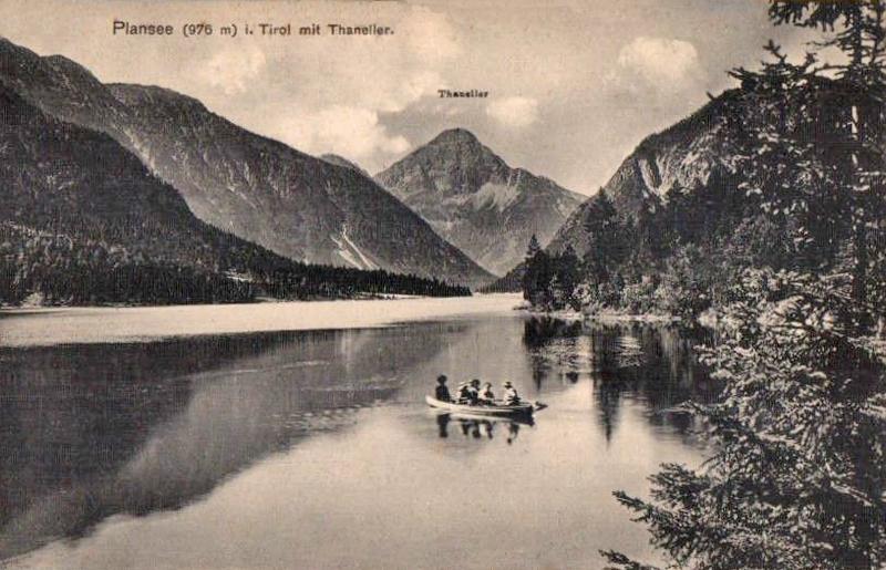 eine Bootsfahrt auf dem Plansee - um etwa 1910