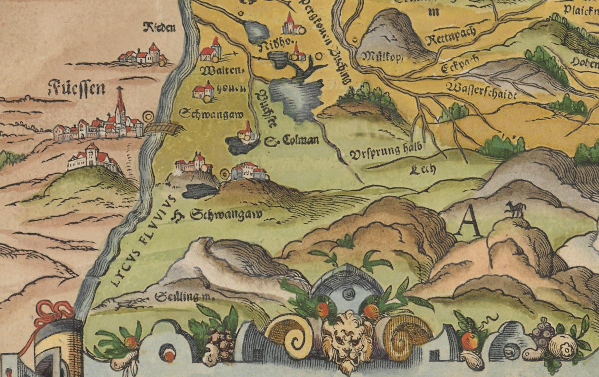 Apian Philipp - Bairische Landtafel (Ausschnitt) von 1568