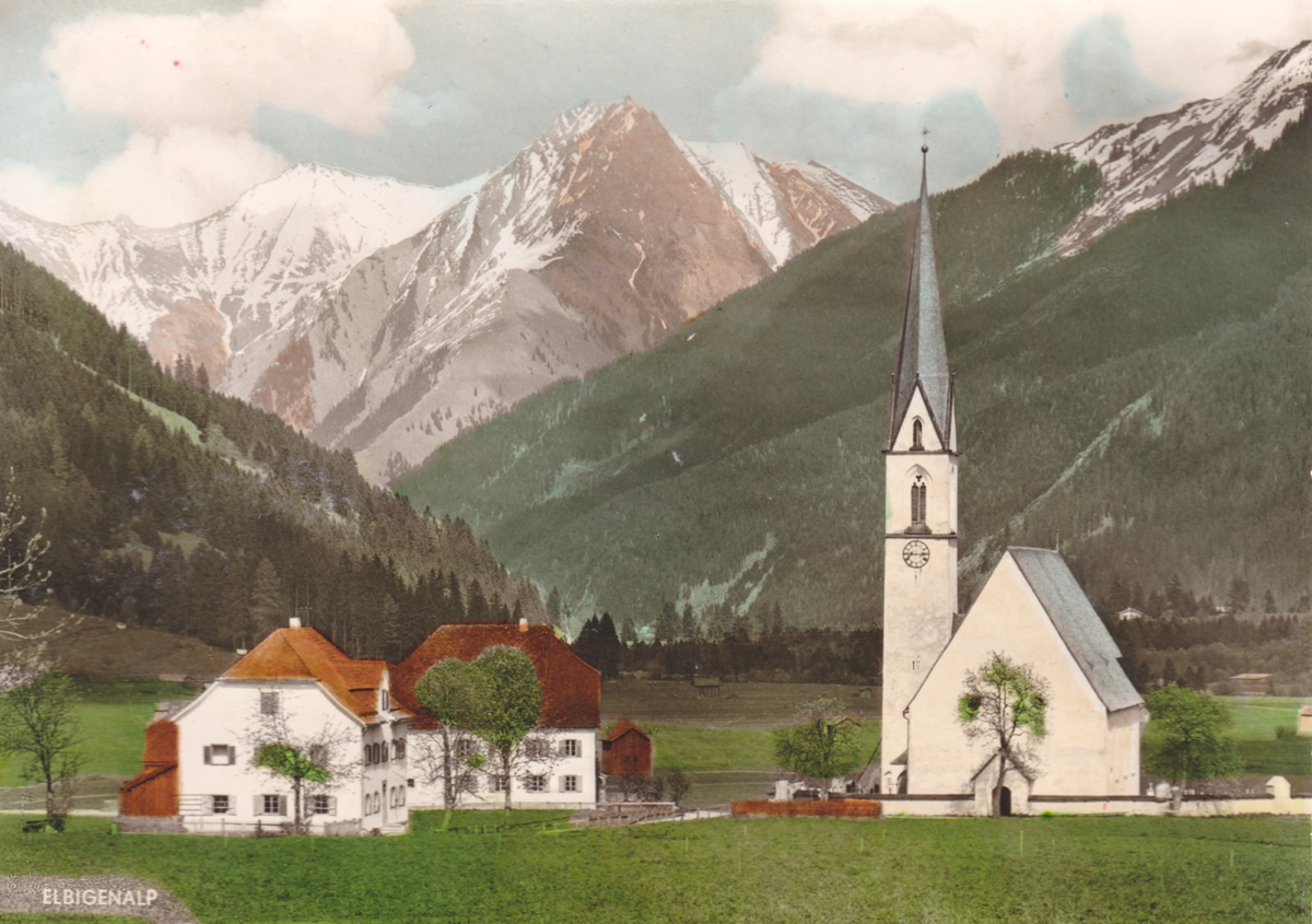 die Pfarrkirche Elbigenalp mit der Roten Wand - Franz Milz Verlag - etwa 40er / 50er Jahre