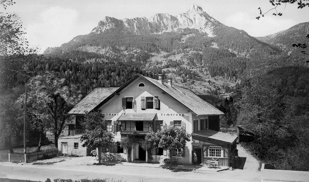 der Gasthof Lechbrugg in Unterletzen (ca. 1955) - Foto: Sammlung Risch-Lau, Vorarlberger Landesbibliothek