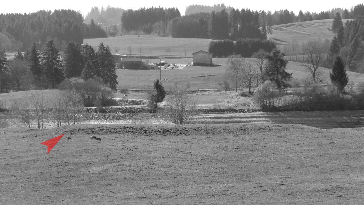auffällige Geländestruktur auf der Halbinsel zwischen Illasberg- und Forggensee - ganz in der Nähe befindet sich ein Brandopferplatz aus der späten Laténezeit und römischen Kaiserzeit
