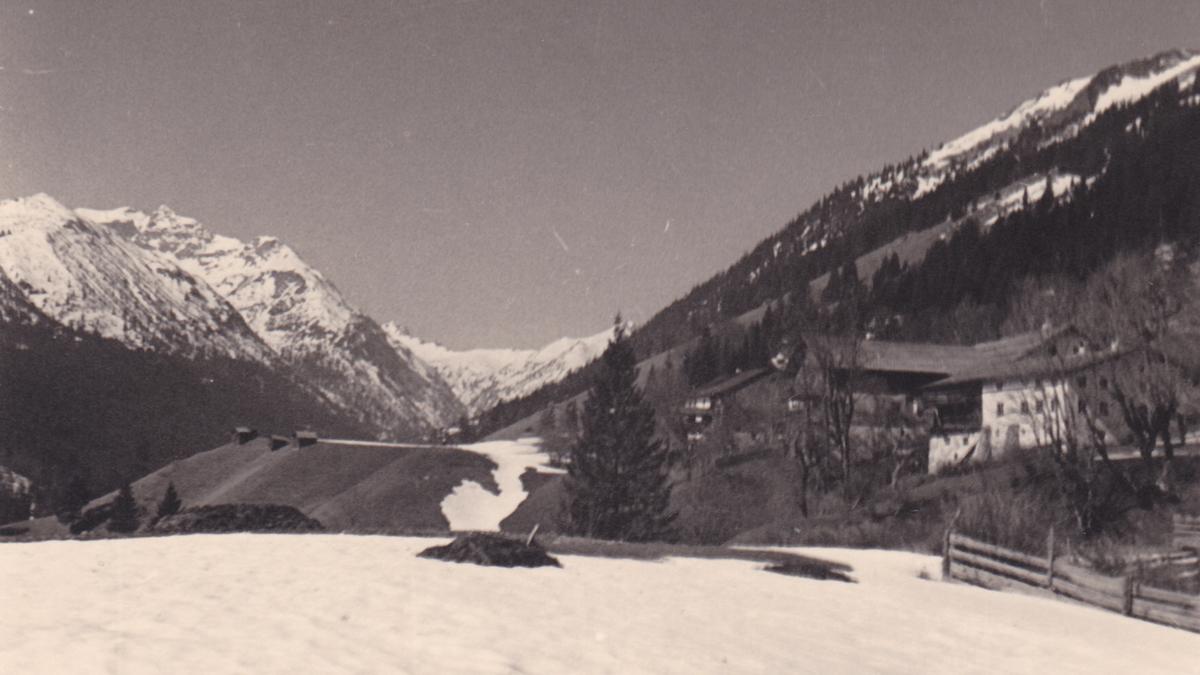 Ausblick von Rauth hinein in das Birkental und zu der Leilachspitze (1936)