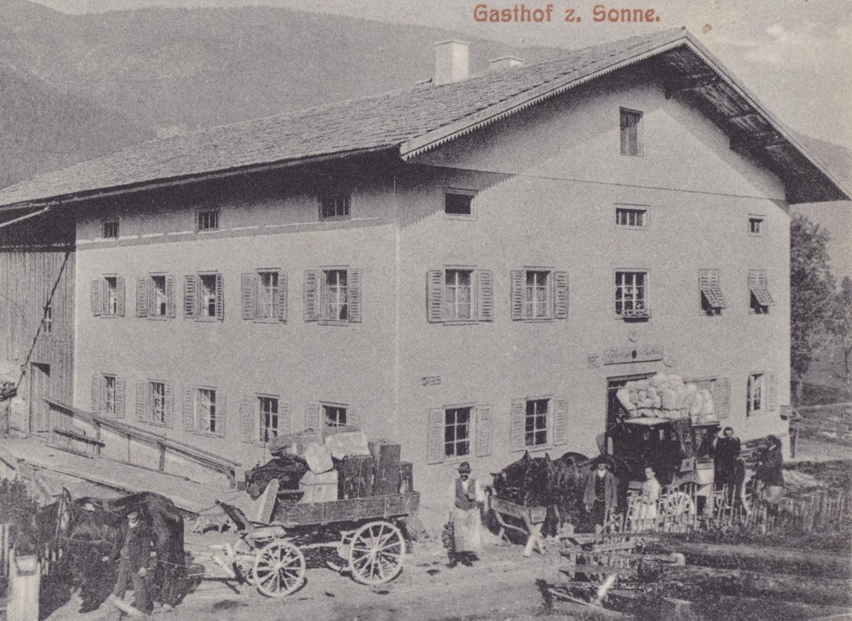 der Gasthof 'zur Sonne' in Forchach - Foto M. Kurth - Karte gelaufen 1916