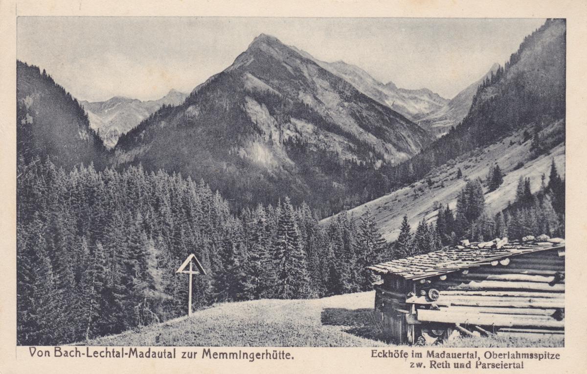 Eckhöfe im Madautal mit Blickrichtung Oberlahmsspitze - Foto L. Pfleghaar - etwa 1925