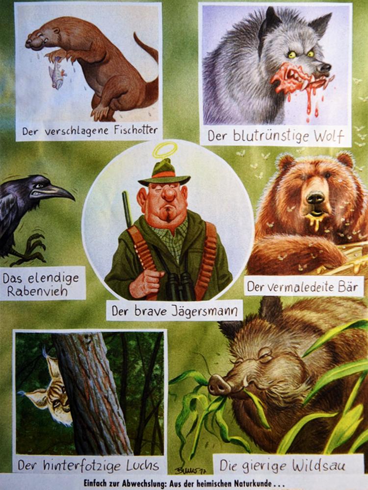 'Der brave Jägersmann' - gesehen am Waldhaus im Senkelewald - Karikatur von Bruno Haberzettel