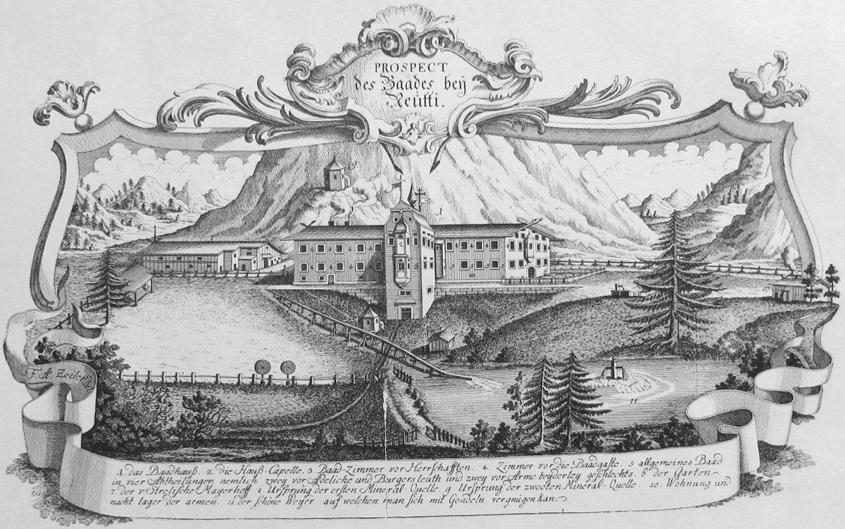 das Bad Kreckelmoos bei Reutte - zeitgenössisches Prospekt