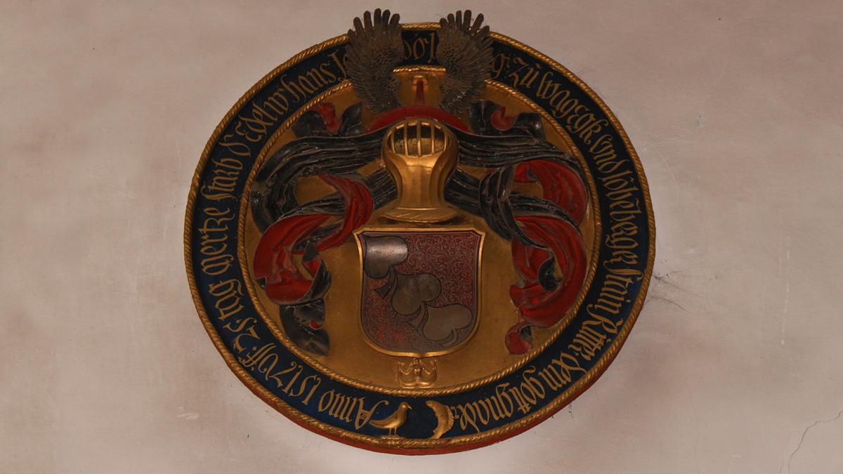 die Wappentafel derer von Laubenberg in der Pfarrkirche St. Mauritius in Stein
