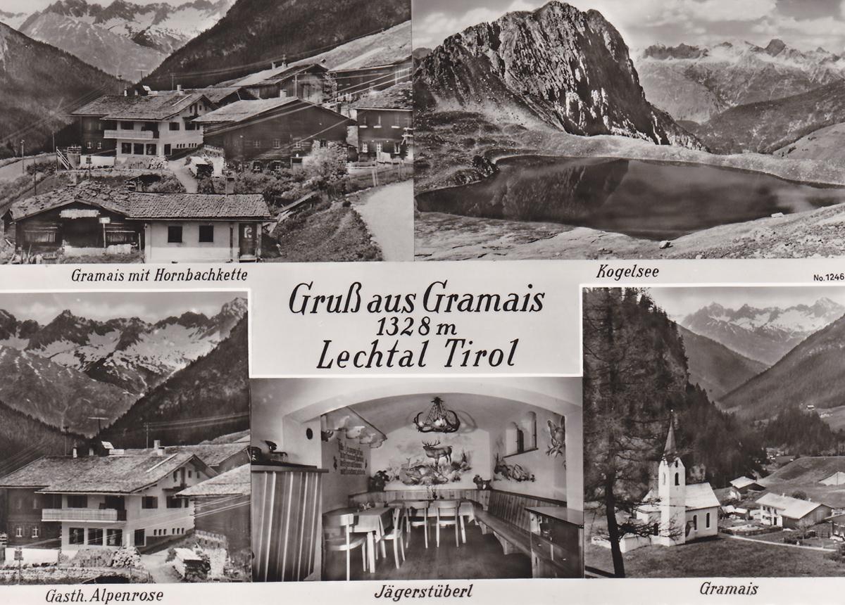 Gruß aus Gramais Tirol Lechtal - Mehrbildkarte (ca. 1960er; Foto: Gehring)