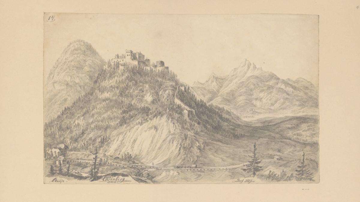 die Klause und Ruine Ehrenberg von Osten aus betrachtet - Welf von Isser-Gaudententhurn; ca. 1850