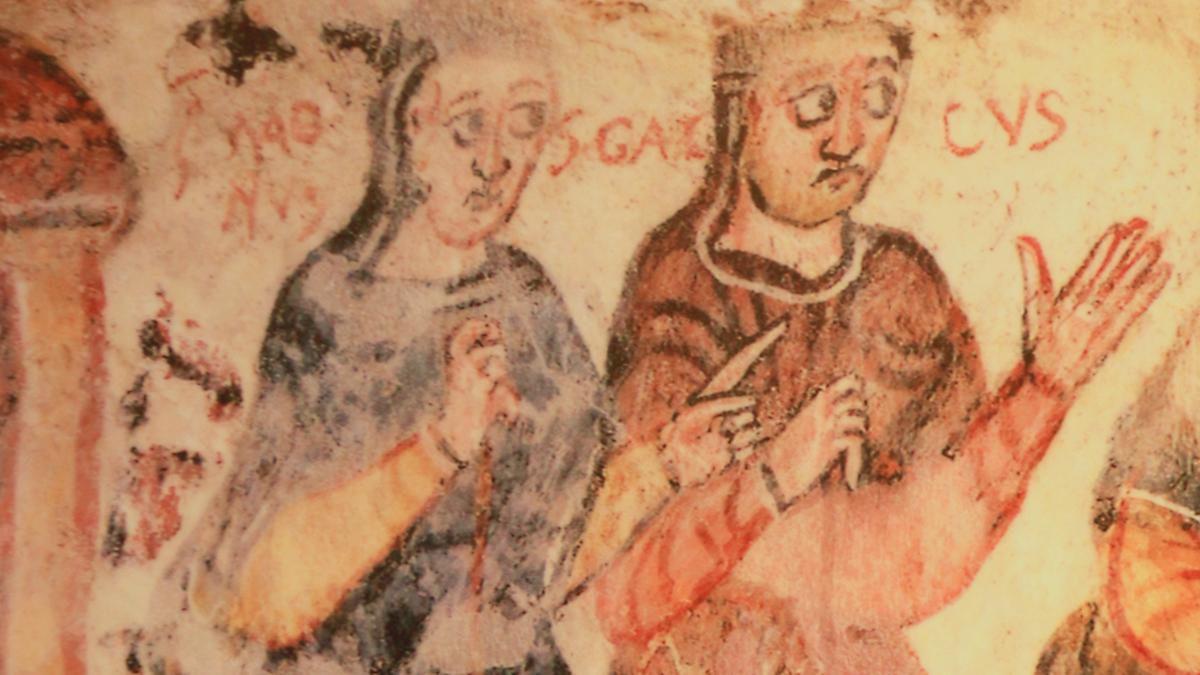 Fresko des 10. Jahrhunderts in der Krypta der Kirche St. Mang in Füssen - Magnus und sein Lehrer Gallus