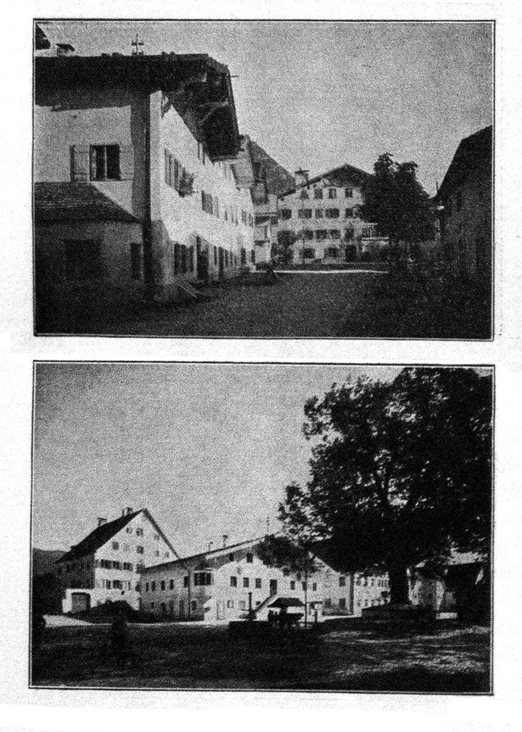 Im Reuttener Obermarkt und am Marktplatz im Zentrum von Reutte (1912)