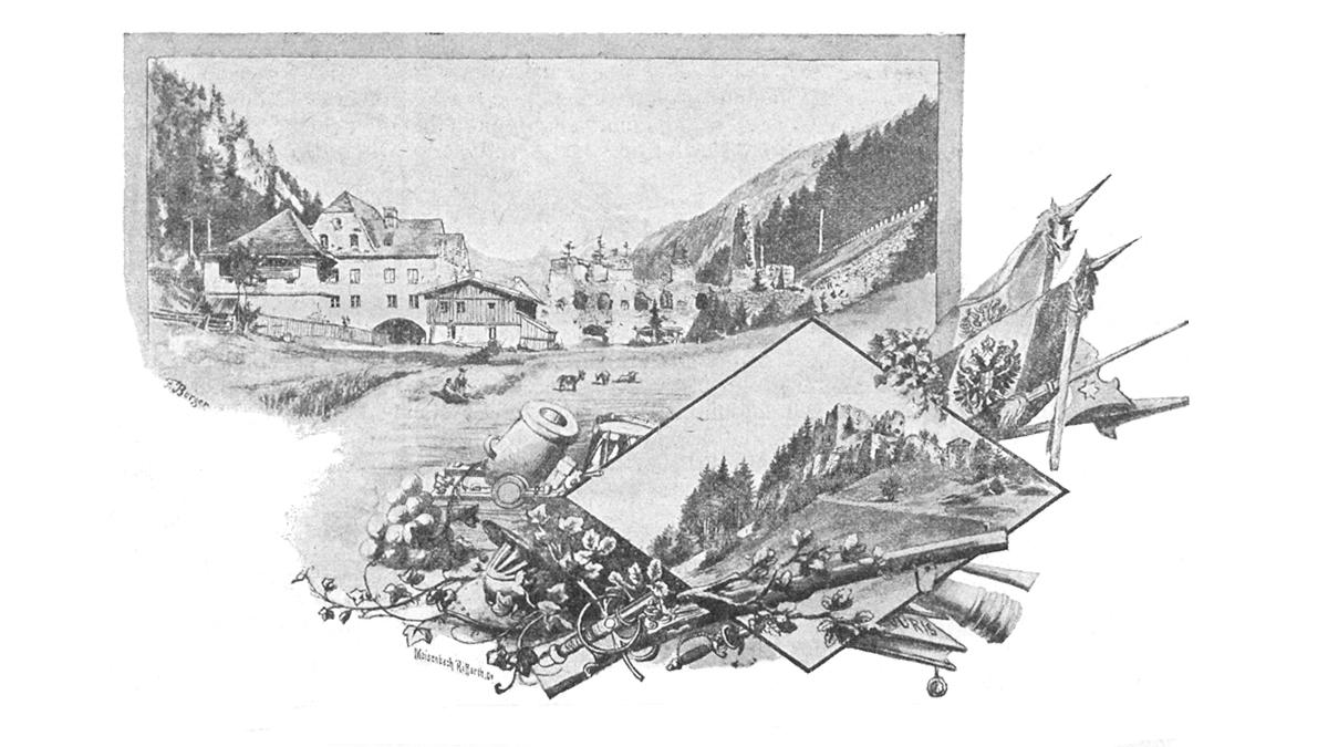 Zeichnung der Ehrenberger Klause (um 1900)
