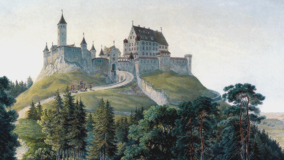 Ansicht der Burg Alt-Trauchburg um 1840 von Caspar Obach