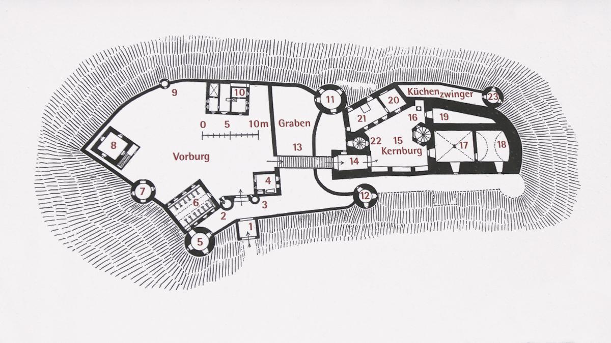 Grundriss der Ruine Alt-Trauchburg an einer Infotafel im Burggelände