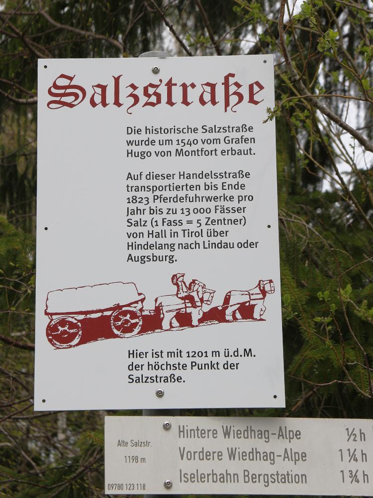 der höchste Punkt des gesamten Verlaufes der Salzstraße am Oberjoch