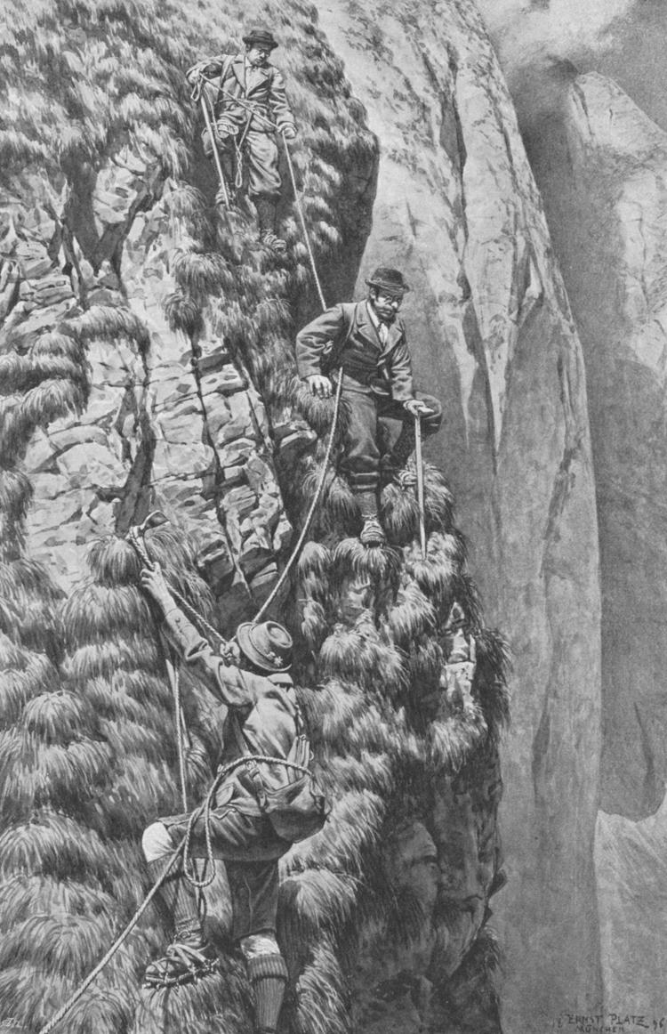 In den Wänden über dem Rothen Loch (Abstieg über die Südost-Wand der Höfats) - gezeichnet von Ernst Platz (1896)