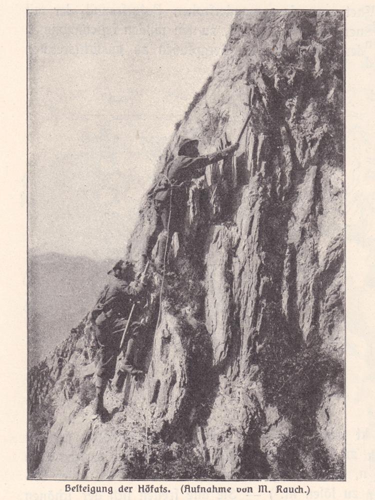 Besteigung der Höfats (um 1900, aus Allgäuer Alpen, Förderreuther; Fotografie von M. Rauch)