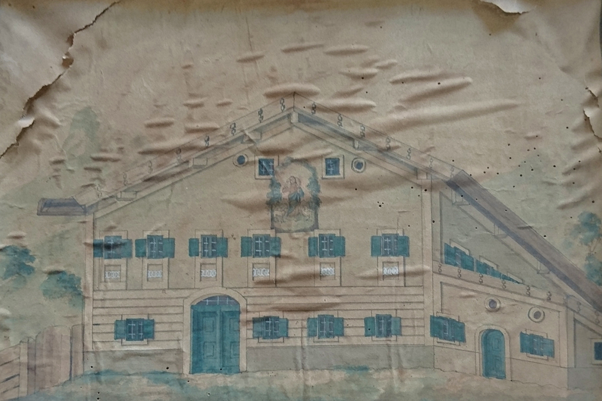 Das so genannte Isserhaus wurde 1958 abgebrochen - Zeichnung von 1913