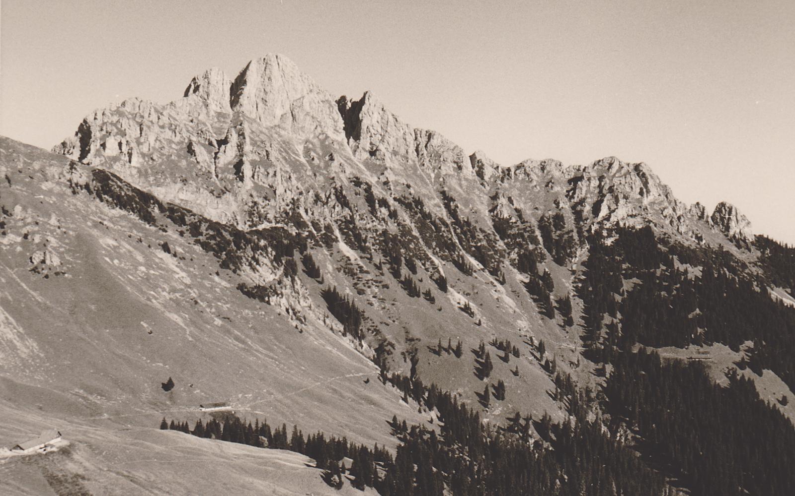 ein seltener Anblick - die noch intakte Hochfeldalpe in der Südost-Flanke der Schneidspitze - Foto: privat (ca. 1960er ?)