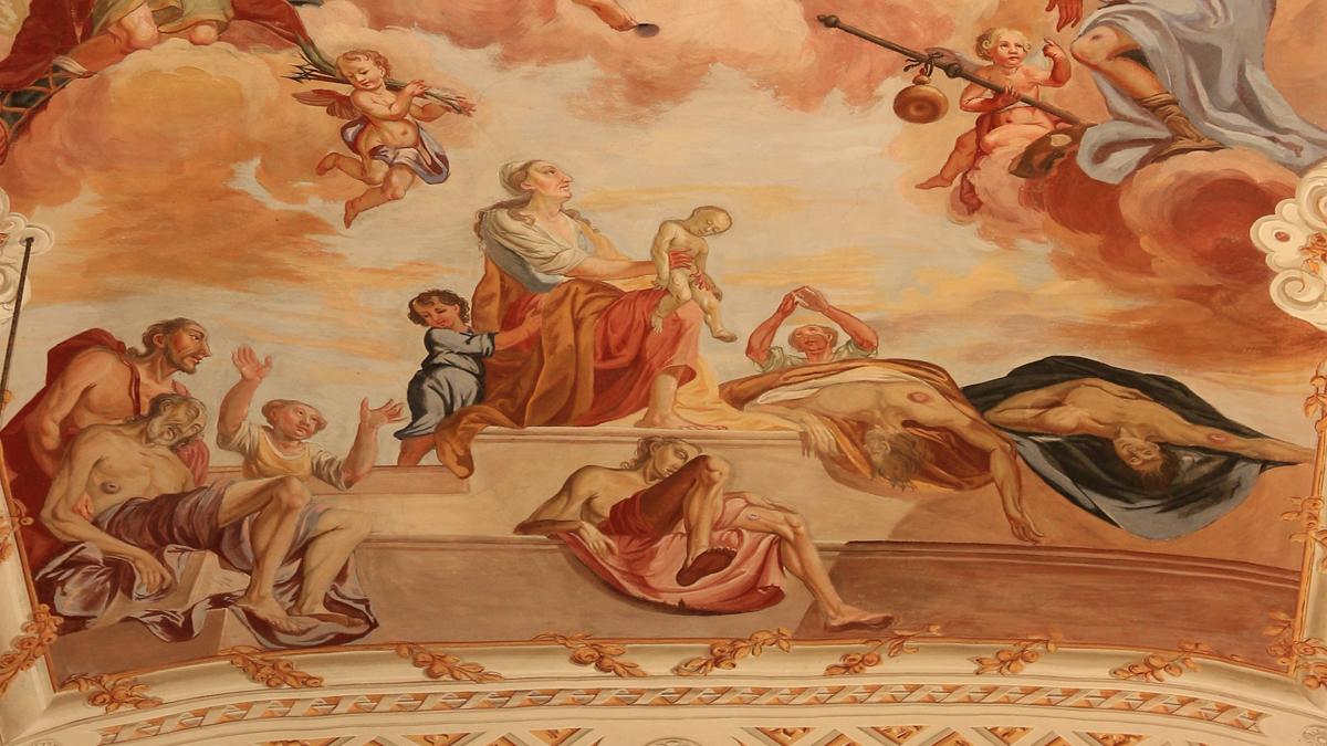 Fresko des Josef Degenhart (1787) in der Expositurkirche Hägerau - Pestkranke erbitten die göttliche Hilfe