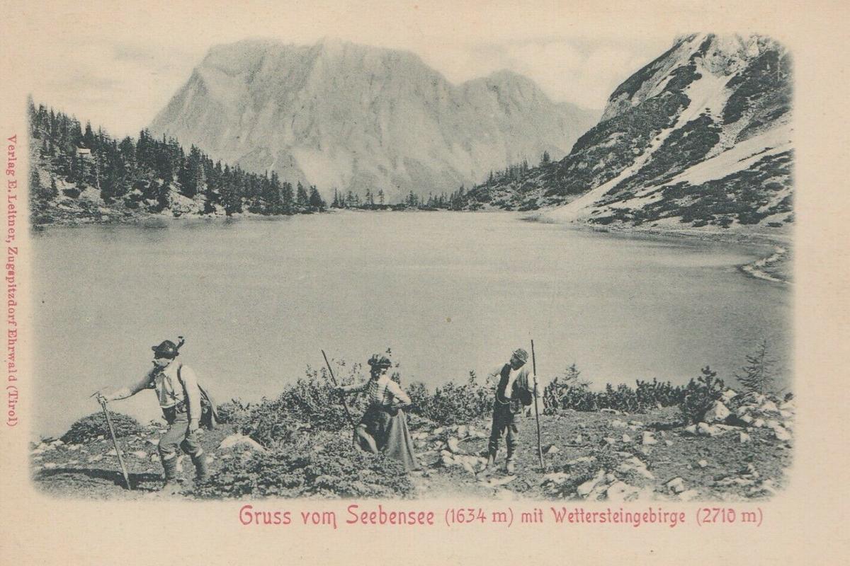 Gruss vom Seebensee mit Wettersteingebirge - Verlag E. Leitner - ca. 1910