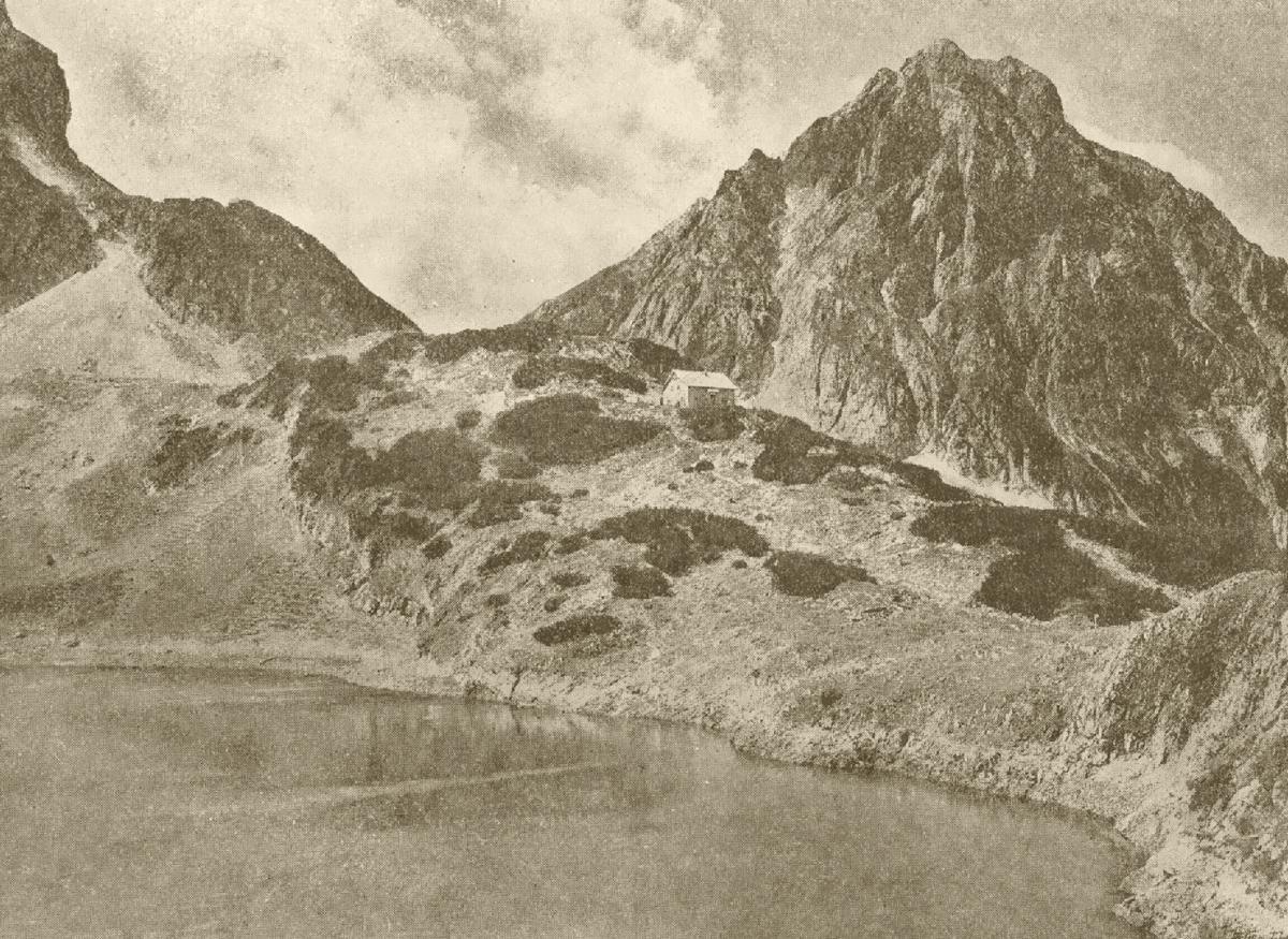 Coburger Hütte mit Sonnenspitze und Drachensee - Der Gebirgsfreund (1912)