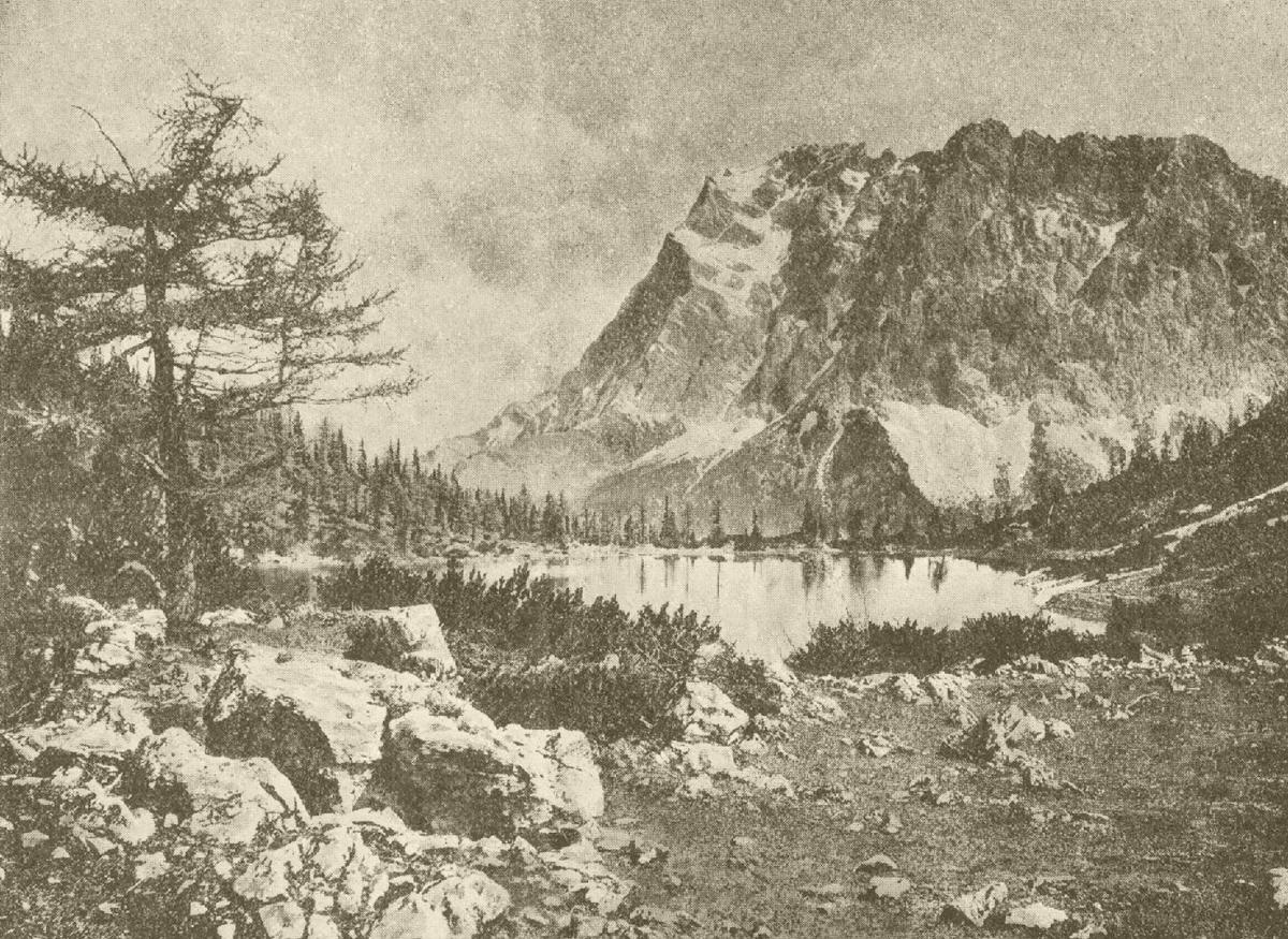 Blick auf Seebensee und die Wettersteingruppe (Zugspitze) - Der Alpenfreund (Jan. 1912)