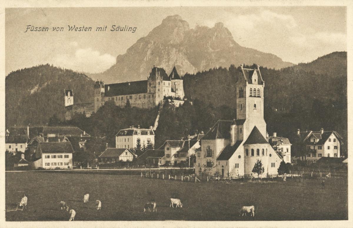 Füssen von Westen mit Säuling - 1919