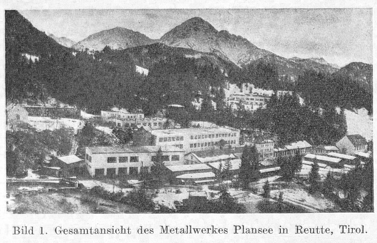 Gesamtansicht des Metallwerkes Plansee - aus: Blätter für Geschichte der Technik (1949)