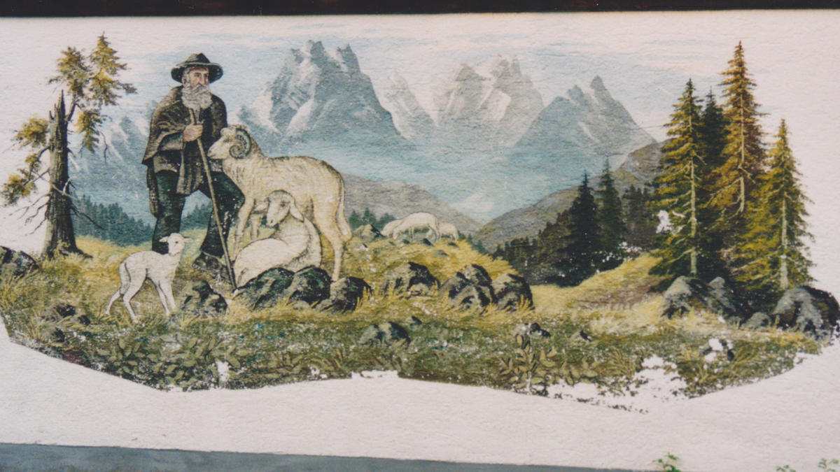 Wandgemälde des Künstlers H. Schöpf in Bogen - Tannheim (vmtl. 1975; nicht mehr erhalten)