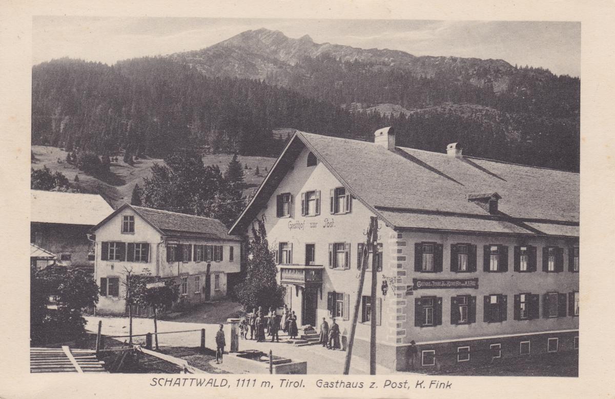 Gasthaus zur Traube und Post - Inhaber Konrad Fink - L. Pfleghaar - etwa 1920